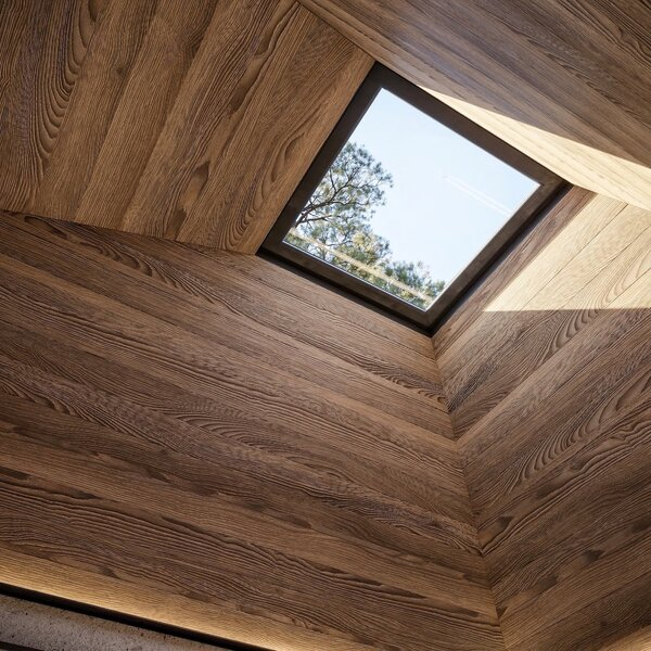 A square skylight is positioned directly above the bed for stargazing.