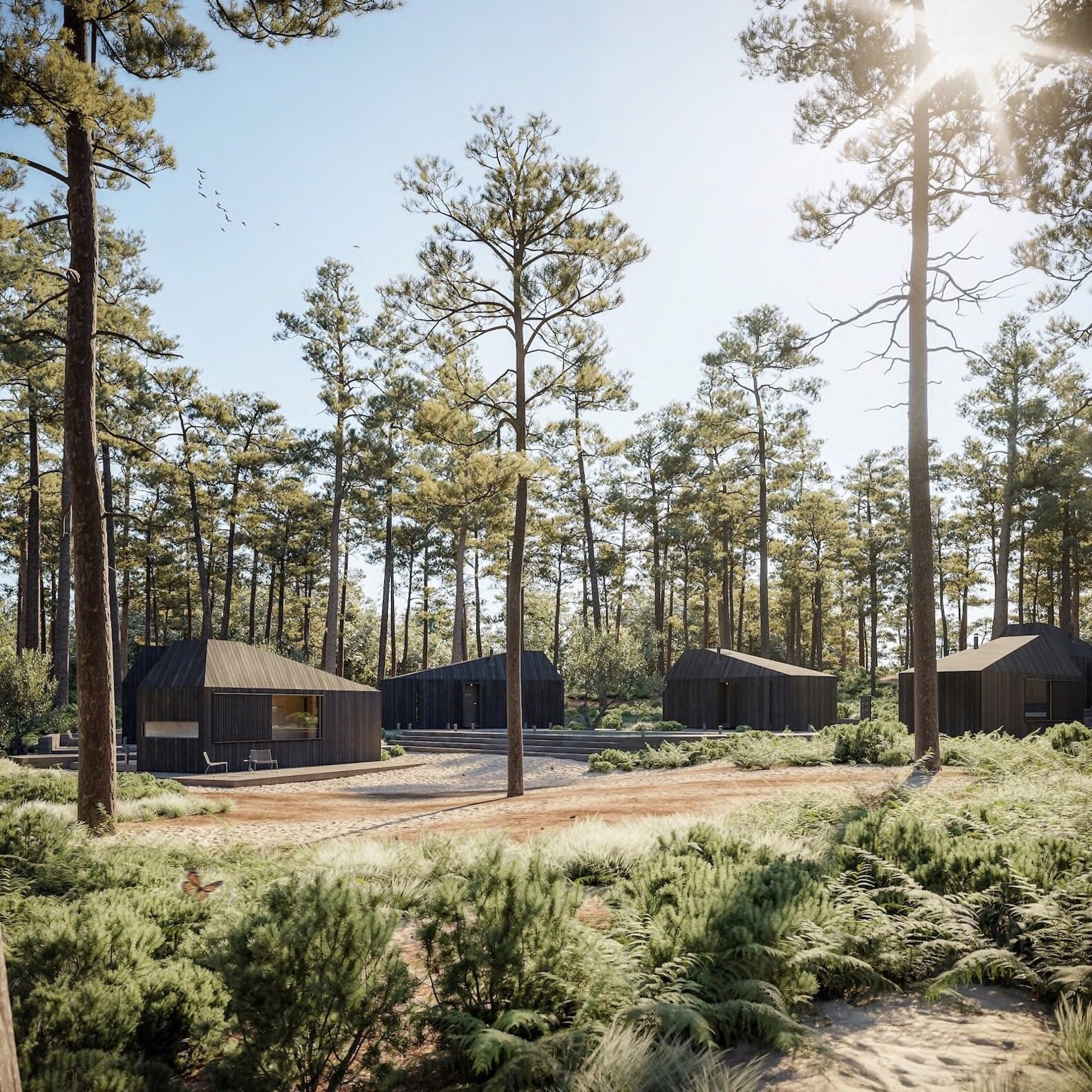 Exterior, Cabin Building Type, Prefab Building Type, and Wood Siding Material Multiple Hytte cabins can be clustered together to create a village layout.   Dwell's Favorite Photos from These New Prefab Cabins Provide Hoteliers With Sleek, Scalable Accommodations