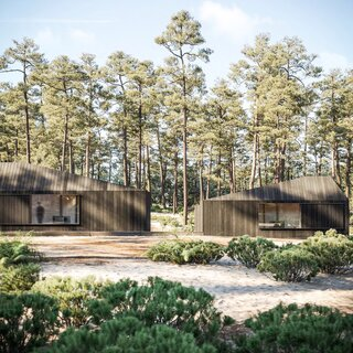 Hytte's prefab construction allows for faster setup with lower site impact.