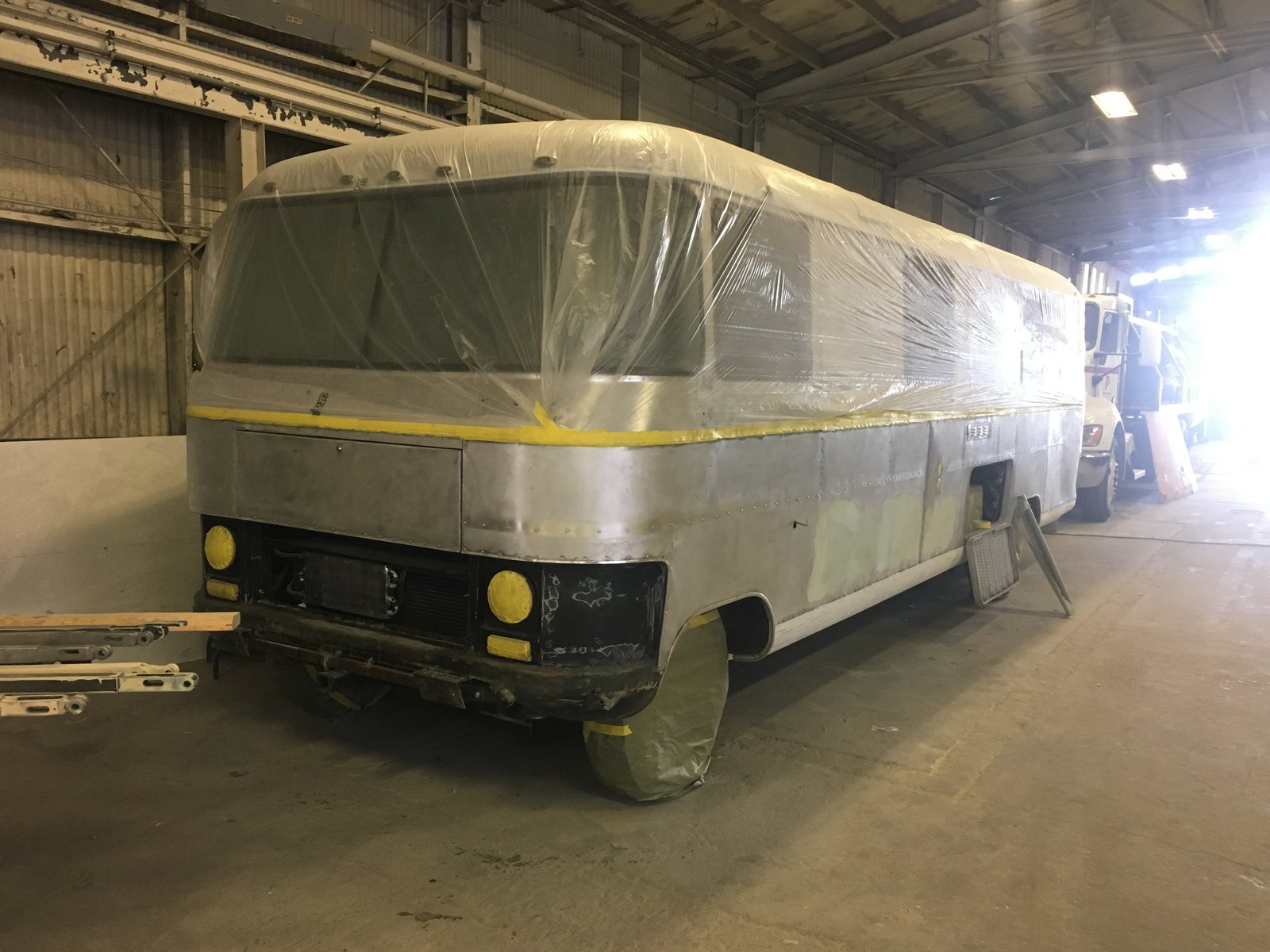 "Modern home with Shed & Studio. Here's the lower section body work well underway at Fleet BodyWorx in San Jose, CA. Photo 3 of Flatnose Frank: Our Renovated Vintage RevCon Motorhome (""Is that an Airstream?"")"