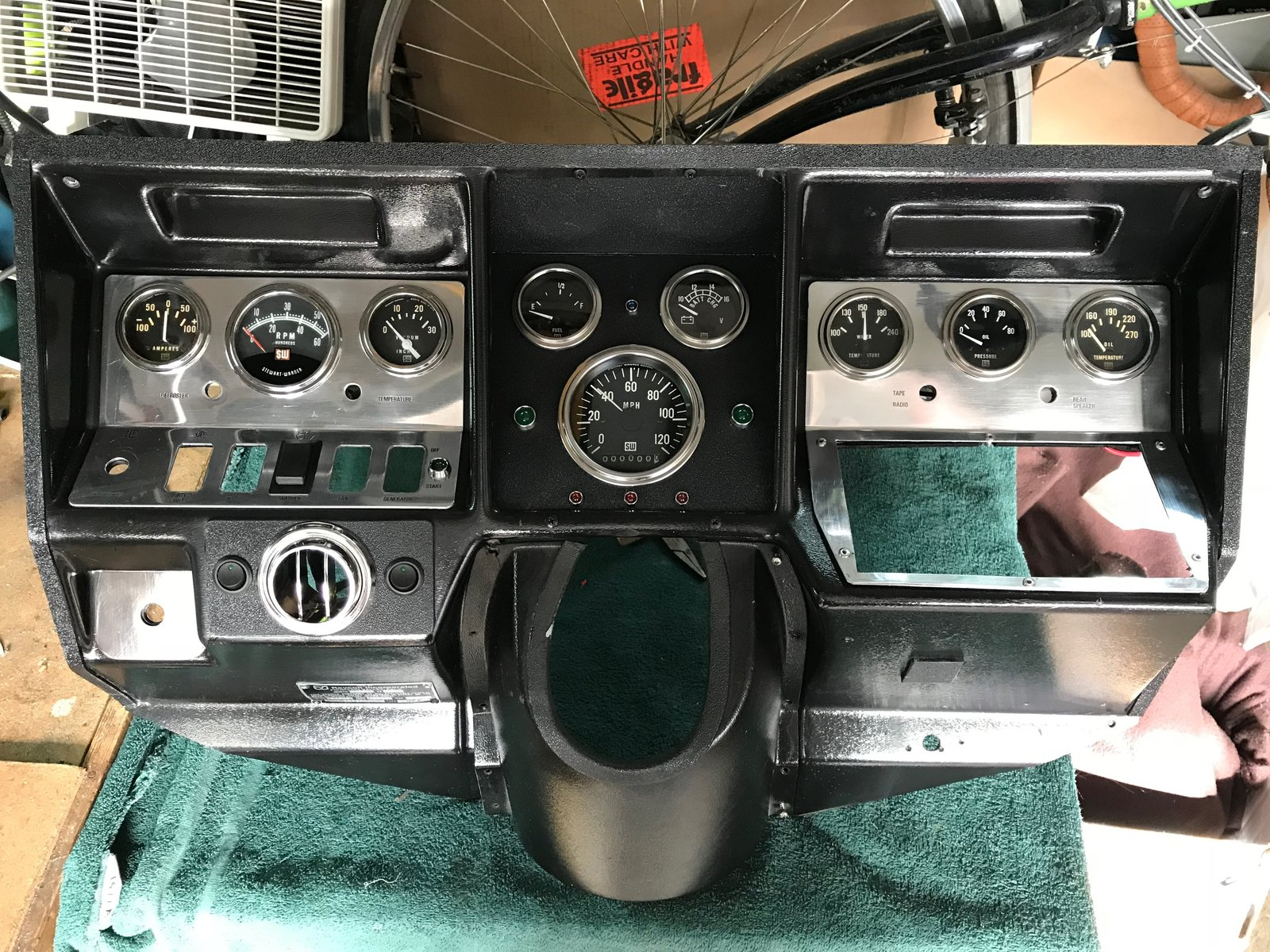"Adding the ""retro"" to retrofit on the gauge panel - it's very old-school aircraft inspired.  The center cluster is a custom ABS plastic box I learned how to build with supplies from TAP Plastics (I became a regular). Photo 12 of Flatnose Frank: Our Renovated Vintage RevCon Motorhome (""Is that an Airstream?"") modern home"
