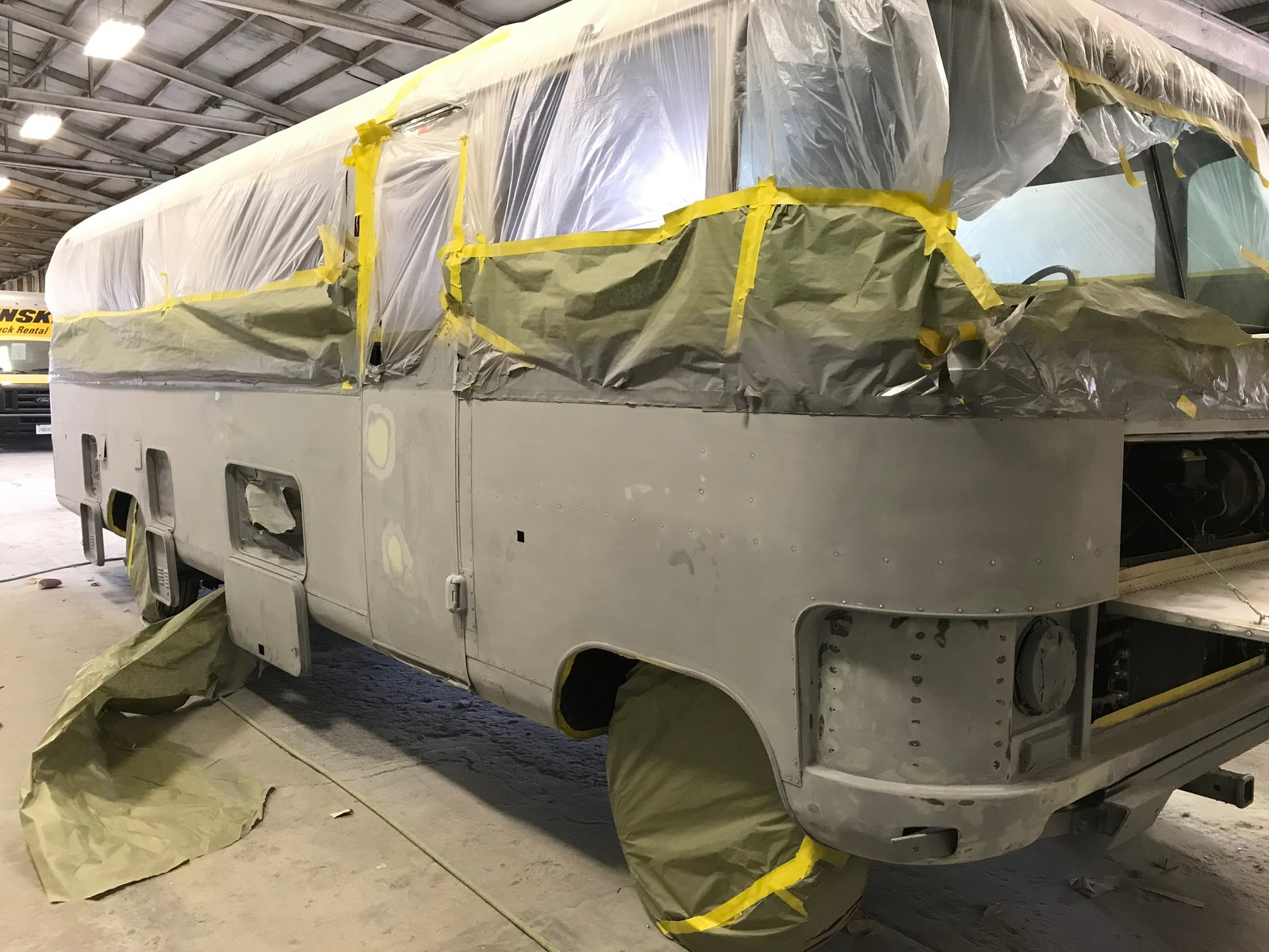 "Next step...paint (Lexus Nebula Gray Pearl). Photo 4 of Flatnose Frank: Our Renovated Vintage RevCon Motorhome (""Is that an Airstream?"") modern home"