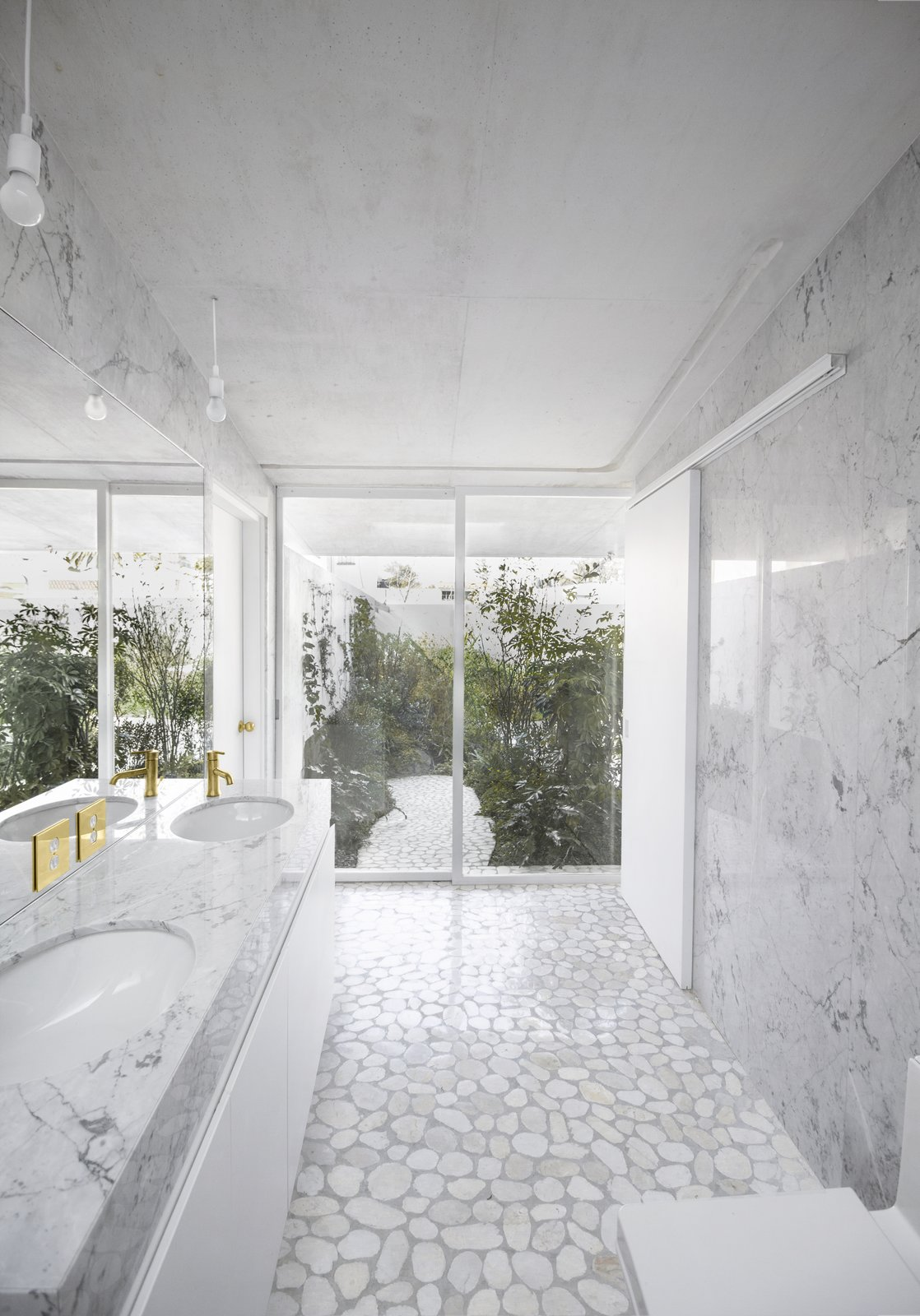 Bath, Marble, Travertine, Drop In, Drop In, Open, Ceiling, Pendant, Marble, and One Piece Bathroom  Best Bath Ceiling Travertine Marble Drop In Photos from Casa Verne