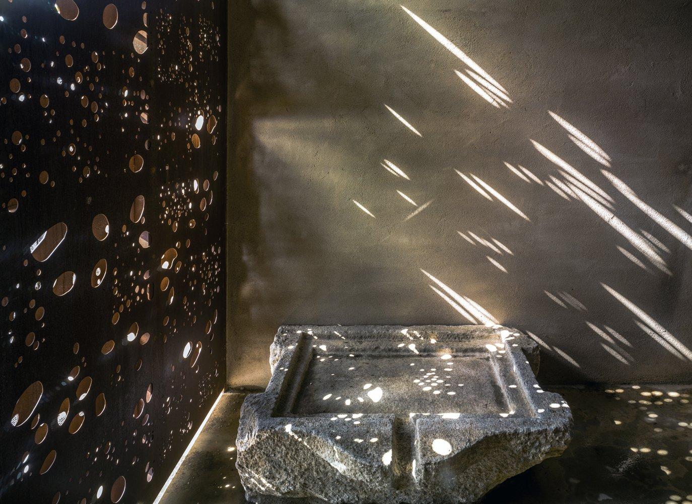Bath Room, Stone Counter, Concrete Floor, Open Shower, and Concrete Wall Interior-VILLA CP  Best Photos from Villa CP