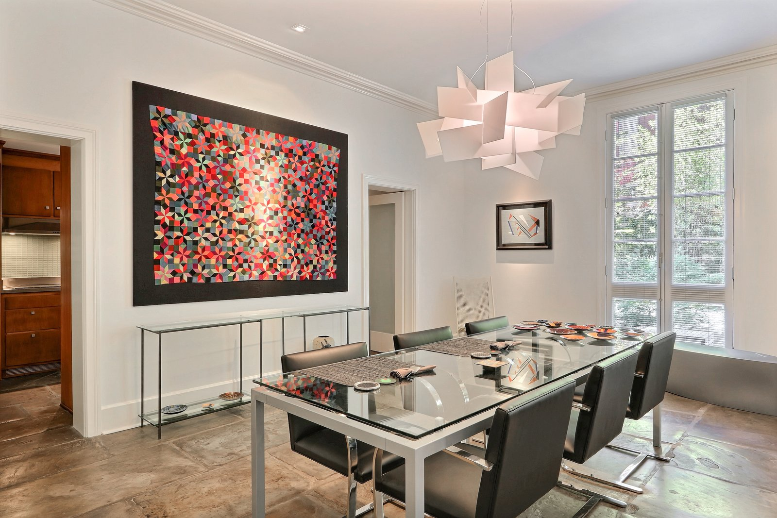 Dining Room, Table, Chair, Pendant Lighting, and Slate Floor Dining room with modern touches  The Hill Gowdy House