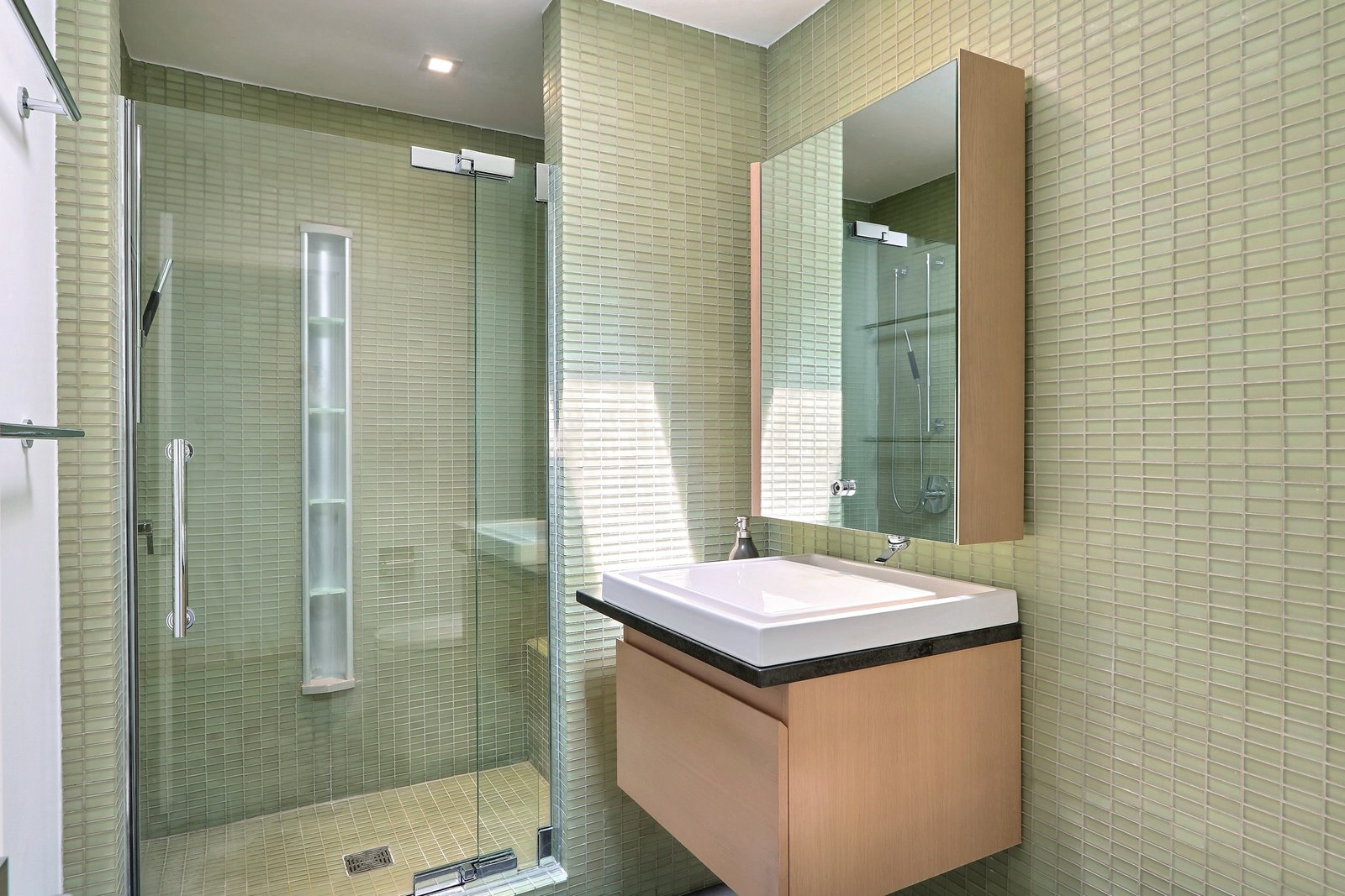 Bath, Stone, Wall Mount, Enclosed, Corner, Glass Tile, and Ceiling Home features two ensuite baths   Bath Enclosed Corner Wall Mount Photos from The Hill Gowdy House