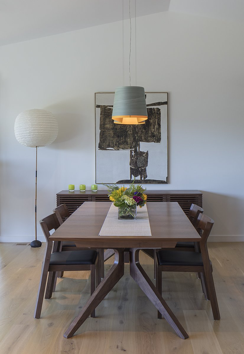 Dining Room, Table, Pendant Lighting, Ceiling Lighting, Floor Lighting, and Light Hardwood Floor Dining room  Best Photos from San Carlos Hills Shou Sugi Ban Home