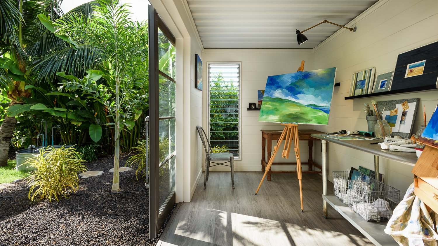 Shed & Studio and Living Space Room Type Detached private art studio with garden views made from a shipping container.   A Modern 1954 Plantation Style Home on Maui