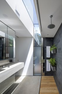 Bathroom material palette of concrete, Australian white beech, slate, stainless steel, and glass illuminated from above.