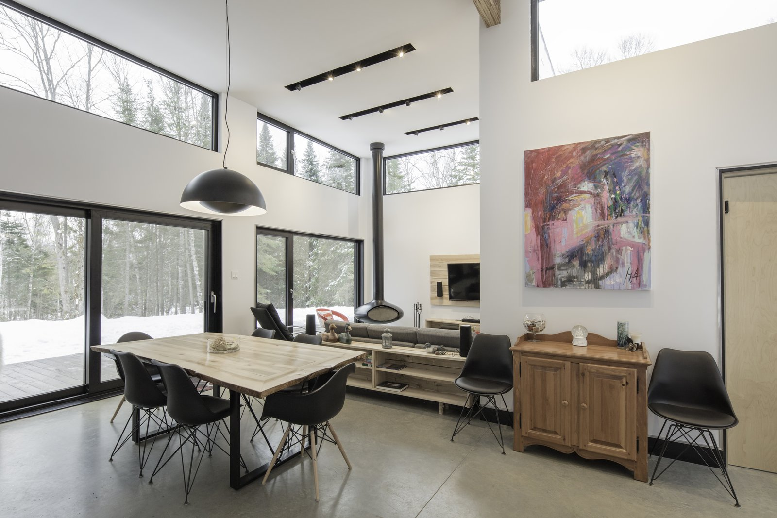 Living, Ceiling, Table, Track, Accent, Concrete, Hanging, and Wood Burning Interiors  Living Table Ceiling Accent Photos from Maison Lac Brûlé