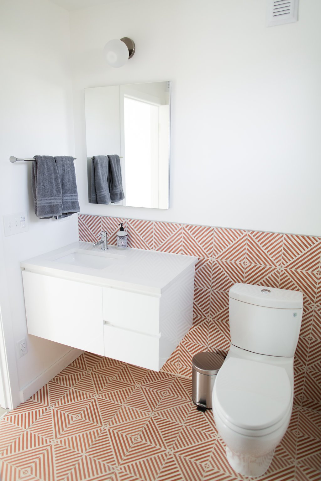 Bath Room, Engineered Quartz Counter, Cement Tile Floor, Porcelain Tile  Floor, Ceramic