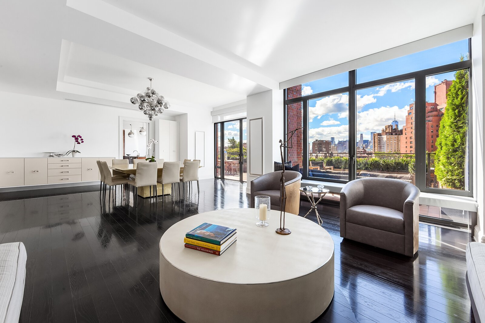 An open living space, perfect for entertaining.  Pristine Penthouse Sells for $16 Million at The Greenwich Lane