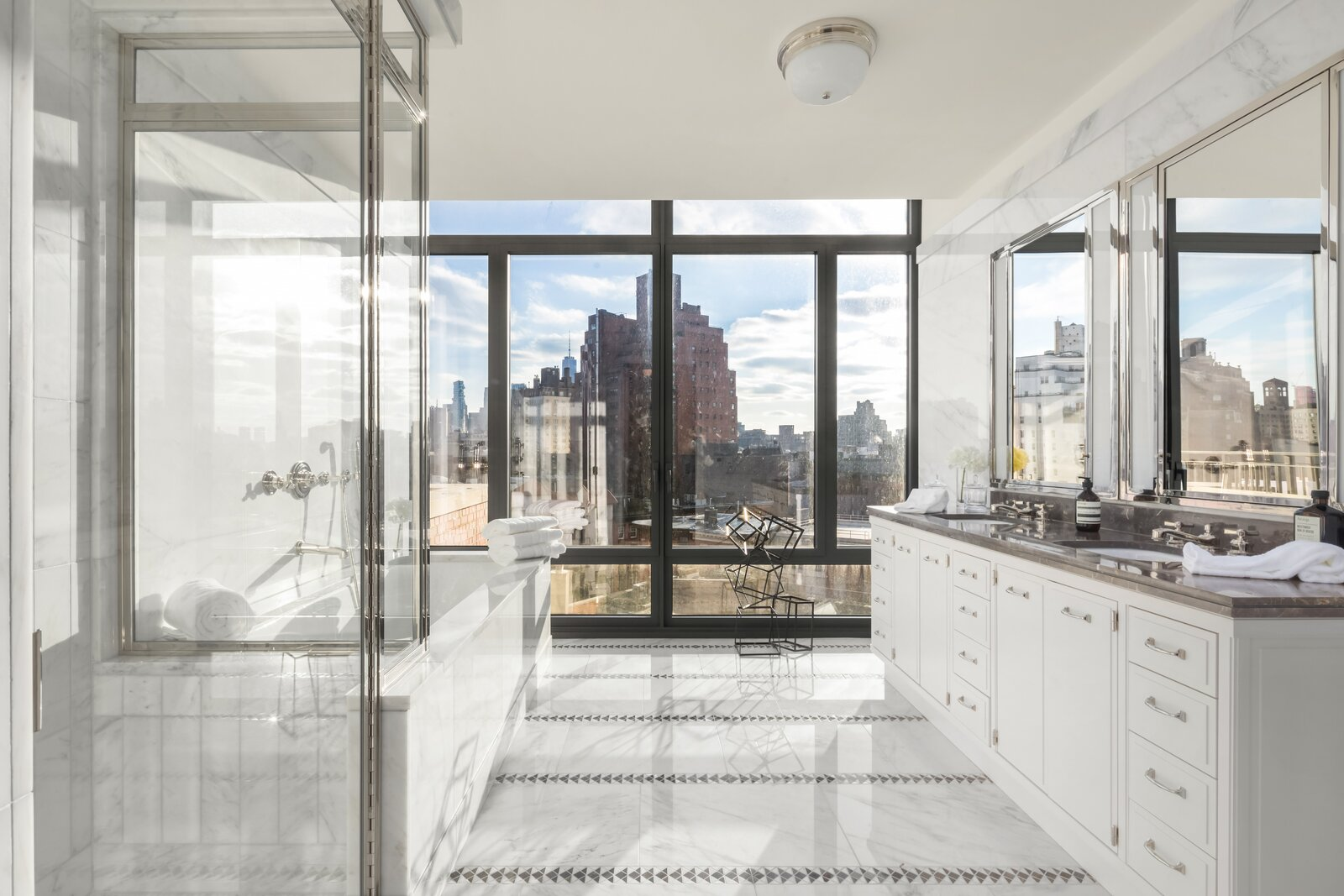 The master bathroom.  Pristine Penthouse Sells for $16 Million at The Greenwich Lane