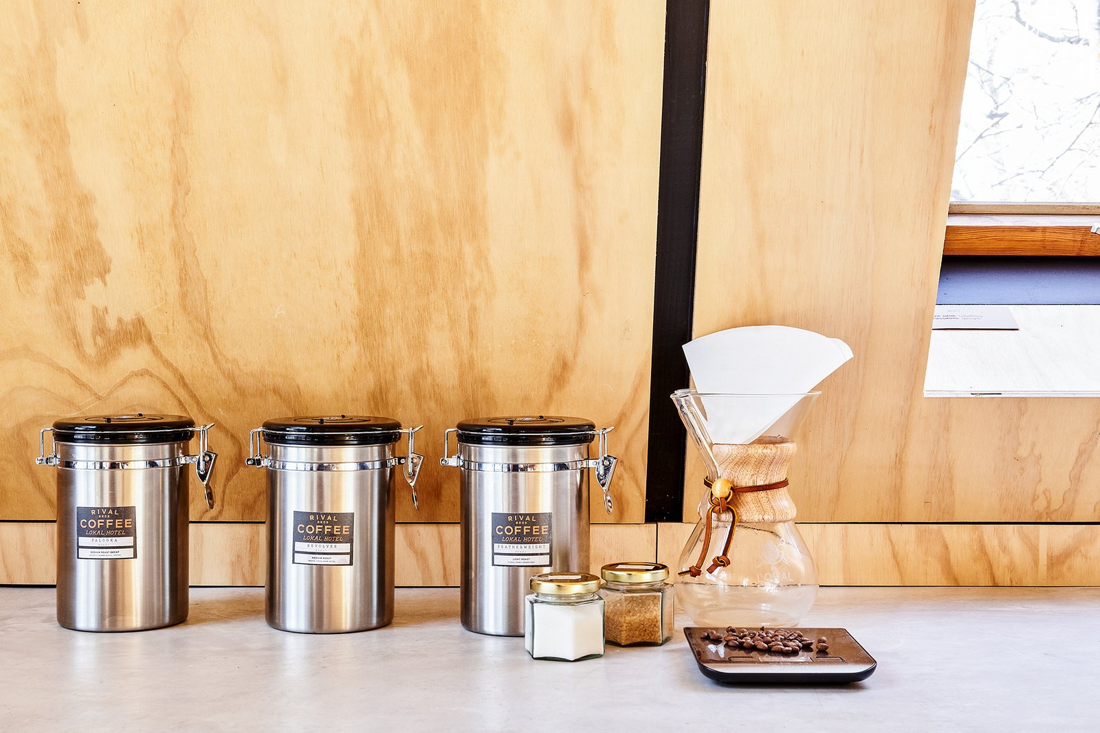 Kitchen, Concrete Counter, and Wood Backsplashe Complimentary coffee provided by Rival Bros from Philly with branded chemex  Lokal A-Frame