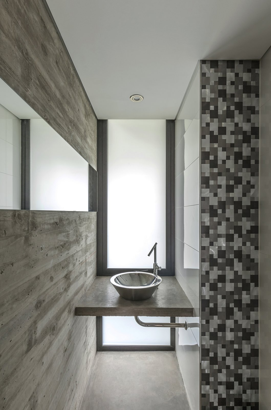 Bath, Concrete, Concrete, Drop In, Glass Tile, Two Piece, and Accent Aranzazu House - Besonías Almeida arquitectos  Best Bath Accent Glass Tile Photos from Aranzazu House