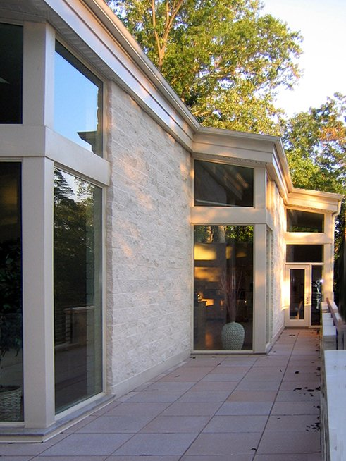 Exterior, Metal Roof Material, Concrete Siding Material, and Shed RoofLine on balcony  Leesburg House by kimberly peck