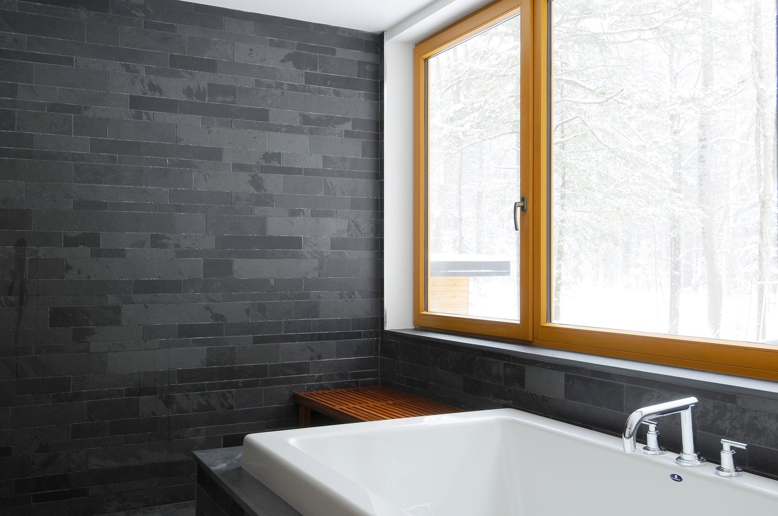 Bath, Slate, Drop In, Recessed, and Stone Tile bathroom: slate and wood  Best Bath Recessed Drop In Photos from Eels Lake Cottage
