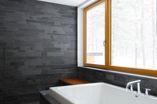 bathroom: slate and wood