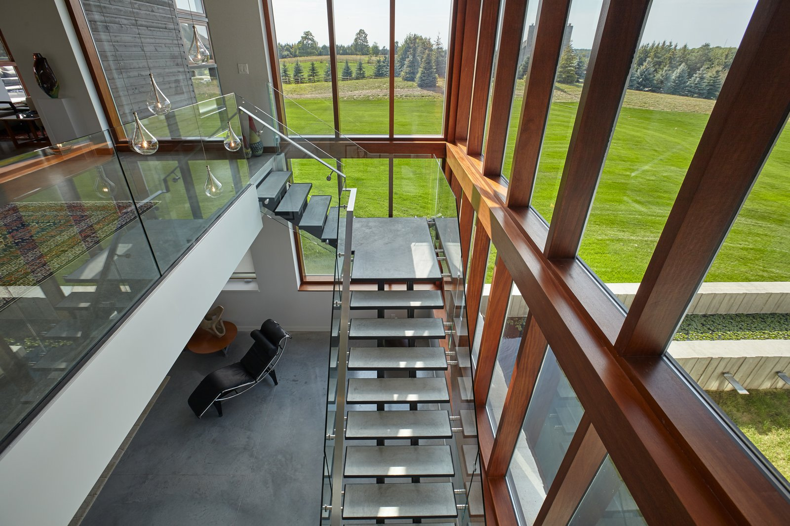 Staircase, Concrete, Metal, Glass, and Metal Feature stair  Best Staircase Metal Concrete Photos from Stouffville Residence