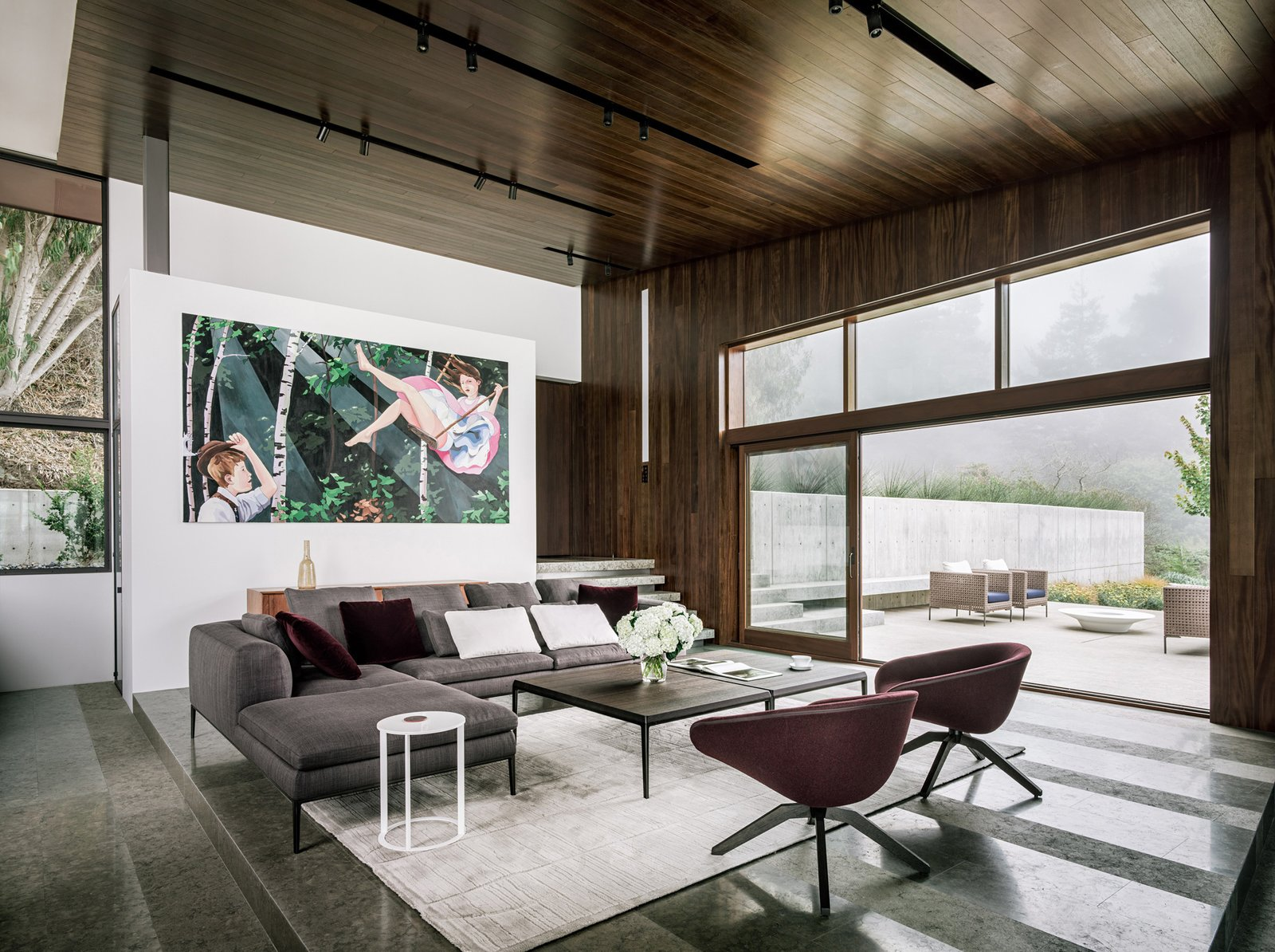 Living, Sofa, Ceiling, Chair, Limestone, Coffee Tables, and Wall Living room  Best Living Wall Limestone Photos from Fall House