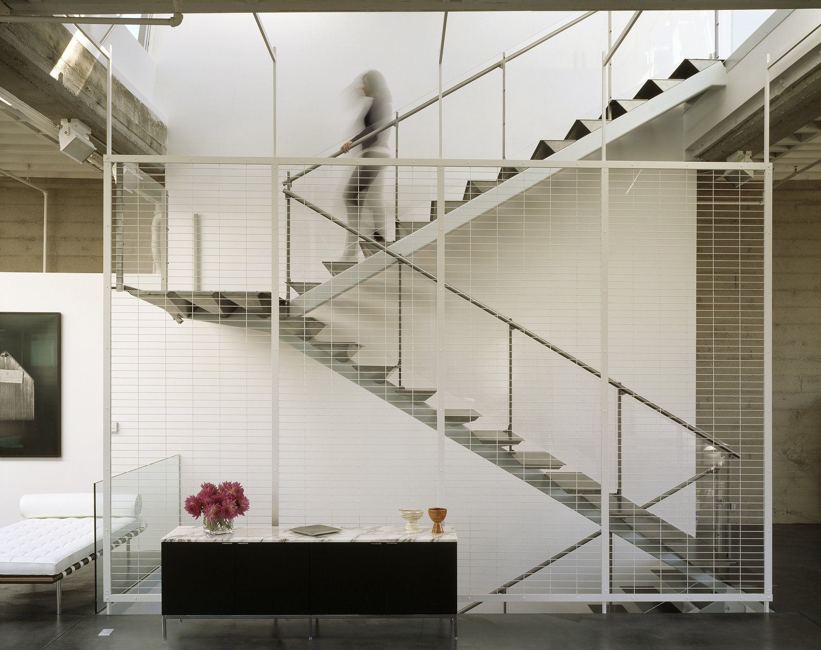 Staircase, Metal Railing, Metal Tread, and Glass Railing Stairs  Tehama Grasshopper by Fougeron Architecture