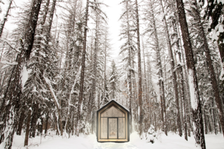 The Mono building (here, pictured in the woods of Montana) by DROP Structures was designed for flexibility as a guesthouse, studio, or office space. With its linear floor plan, vaulted ceiling, and floor-to-ceiling glazing, it can easily accommodate lofted beds, desks, and other elements. With a living space of just over 100 square feet, it can serve as the perfect getaway and can even be customized with skylights, custom furniture, and upgraded lighting.