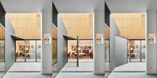 A section of the metal wall can be swung open to a 45-degree angle where it meets the opened glass door of the atelier and both lock into place. The moveable wall also has a hidden triangular ceiling piece that provides a cap to the extended passageway.