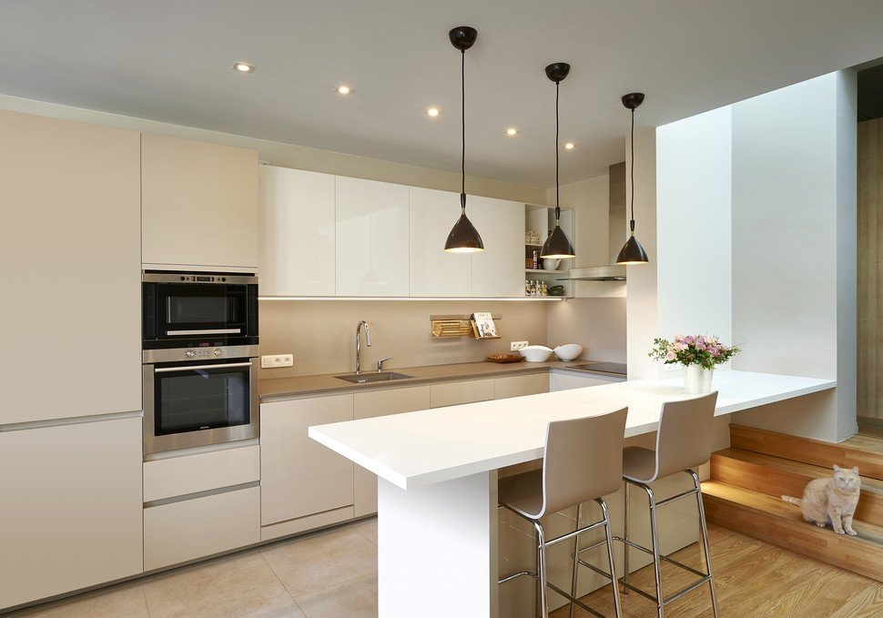 White and Cream Kitchen - renovation of a living space in ...