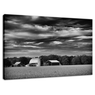 "Red Barn in Golden Field Black and White Rural Landscape Photo Signed Limited Edition Fine Art Canvas Print  Our limited edition canvas prints are created using 1.5"" stretcher bars that have strength & resist twisting caused by inferior stretcher systems & time. We add additional support for longer spans with a UV luster coating (which helps protect the ink & canvas from fading & discoloring), black backing & ready to hang. Life expectancy of these collectible fine art photo prints is up to 300 years depending on the care. All of our landscape photography fine art prints are inspected, numbered & signed by landscape and nature photographer Melissa Fague before shipping.  Canvas Print Sizes Available: 11"" x 14"" 16"" x 20"" 20"" x 24"" 20"" x 30"" 24"" x 36""  Other Print Options: This photograph is also available on a variety of print media types in a variety of sizes to fit your decorating needs. For more information on this and other stunning landscape photographs please visit www.pipafineart.com  About the Rural Landscape Photograph: Red Barn in Golden Field is a black and white landscape photograph of a beautiful red barn in the center of a golden field of dried crops. This photograph was created in Middletown Delaware in the early morning hours of the fall season. This image is also available in Color, a Vintage Black and White and Colorized version.  Title: Red Barn in Golden Field Black and White Landscape Photographer: Melissa Fague Genre: Landscape Photography Item ID#: LAND-0020-BW"
