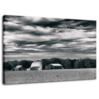 "Red Barn in Golden Field Vintage Black and White Rural Landscape Photo Signed Limited Edition Fine Art Canvas Print  Our limited edition canvas prints are created using 1.5"" stretcher bars that have strength & resist twisting caused by inferior stretcher systems & time. We add additional support for longer spans with a UV luster coating (which helps protect the ink & canvas from fading & discoloring), black backing & ready to hang. Life expectancy of these collectible fine art photo prints is up to 300 years depending on the care. All of our landscape photography fine art prints are inspected, numbered & signed by landscape and nature photographer Melissa Fague before shipping.  Canvas Print Sizes Available: 11"" x 14"" 16"" x 20"" 20"" x 24"" 20"" x 30"" 24"" x 36""  Other Print Options: This photograph is also available on a variety of print media types in a variety of sizes to fit your decorating needs. For more information on this and other stunning landscape photographs please visit www.pipafineart.com  About the Rural Landscape Photograph: Red Barn in Golden Field is a vintage black and white landscape photograph of a beautiful red barn in the center of a golden field of dried crops. This photograph was created in Middletown Delaware in the early morning hours of the fall season. This image is also available in Color, a Colorized, and a Black and White version.  Title: Red Barn in Golden Field Vintage Landscape Photographer: Melissa Fague Genre: Landscape Photography Item ID#: LAND-0020-V"