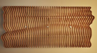 Detail of undulating wood ceiling panel