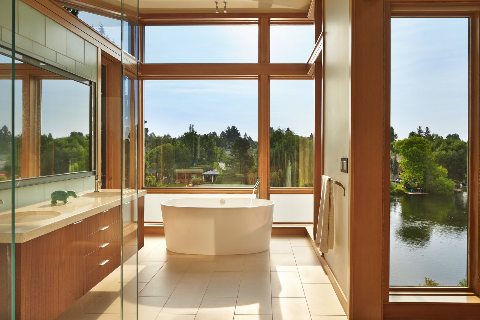 Bath, Glass Tile, Ceiling, Porcelain Tile, Full, Freestanding, Undermount, One Piece, and Engineered Quartz Master Bath with freestanding tub overlooking Deschutes River  Best Bath Undermount Full Engineered Quartz Glass Tile Photos from DESCHUTES House