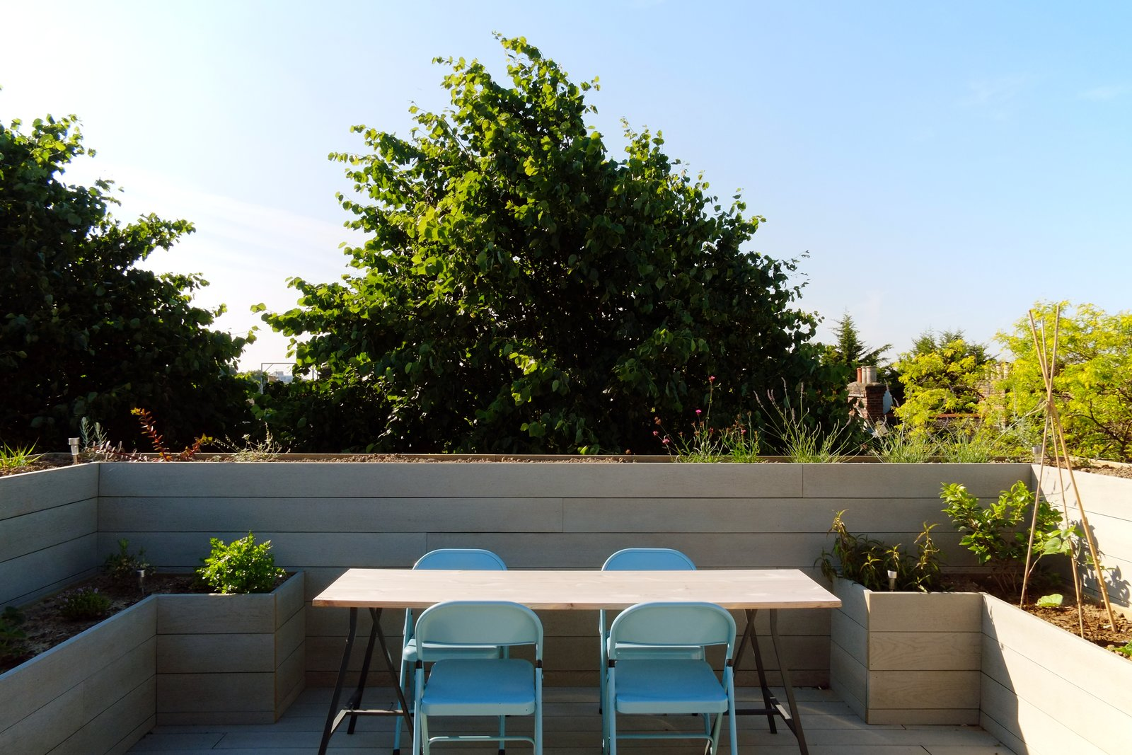Outdoor, Vegetables, Decking, Rooftop, Raised Planters, Flowers, and Trees Private and secluded terrace with view across London in the tree tops  Best Outdoor Vegetables Decking Photos from The Science Lab