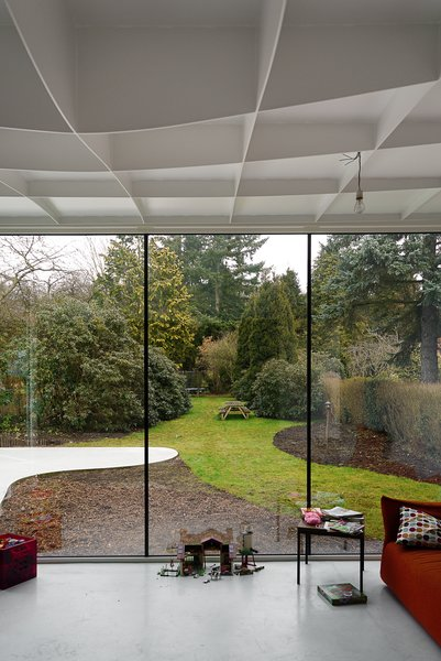 View from addition interior to outdoor garden