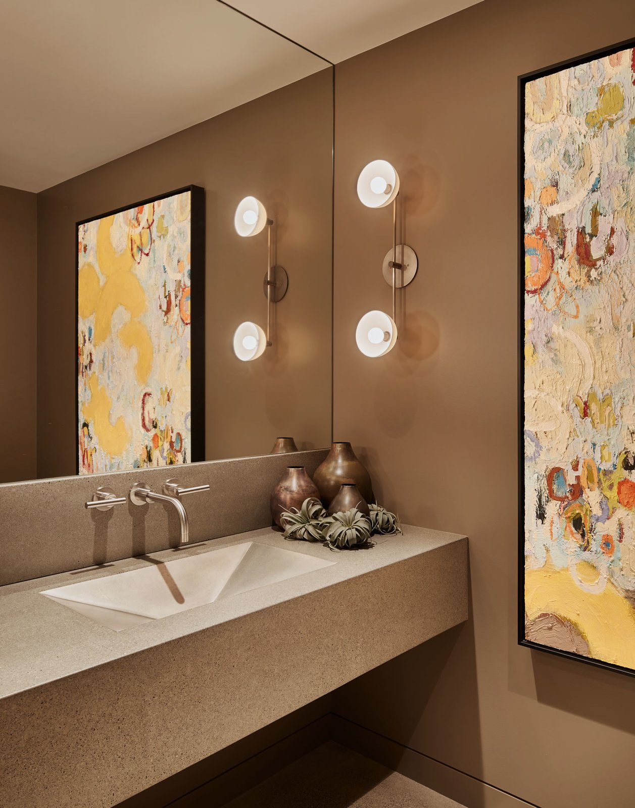 Bath Room and Wall Lighting The powder room   Union Bay Residence by NB Design Group