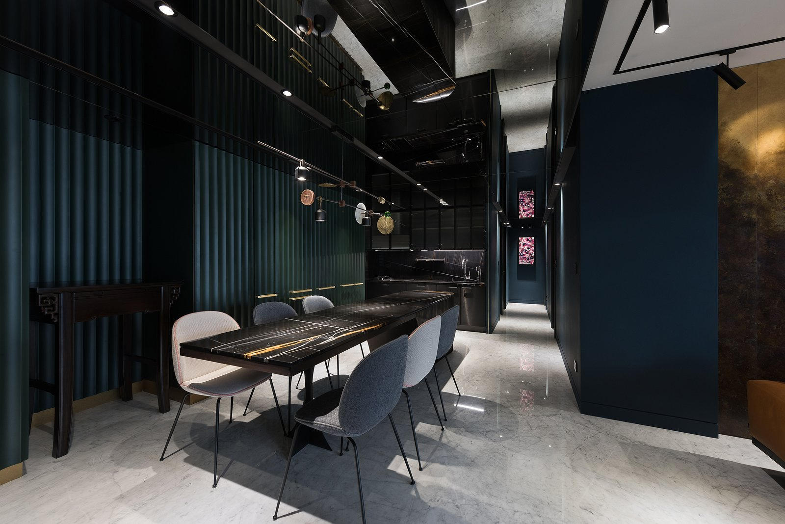 Dining Room, Ceiling Lighting, and Table Dining Room & Kitchen  Residence C.A. by W&Li Design