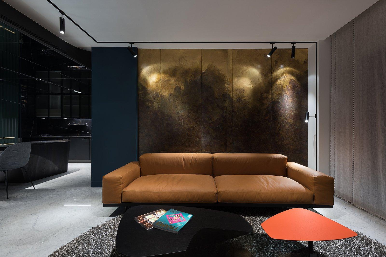 Living Room Living Room Brass Wall  Residence C.A. by W&Li Design