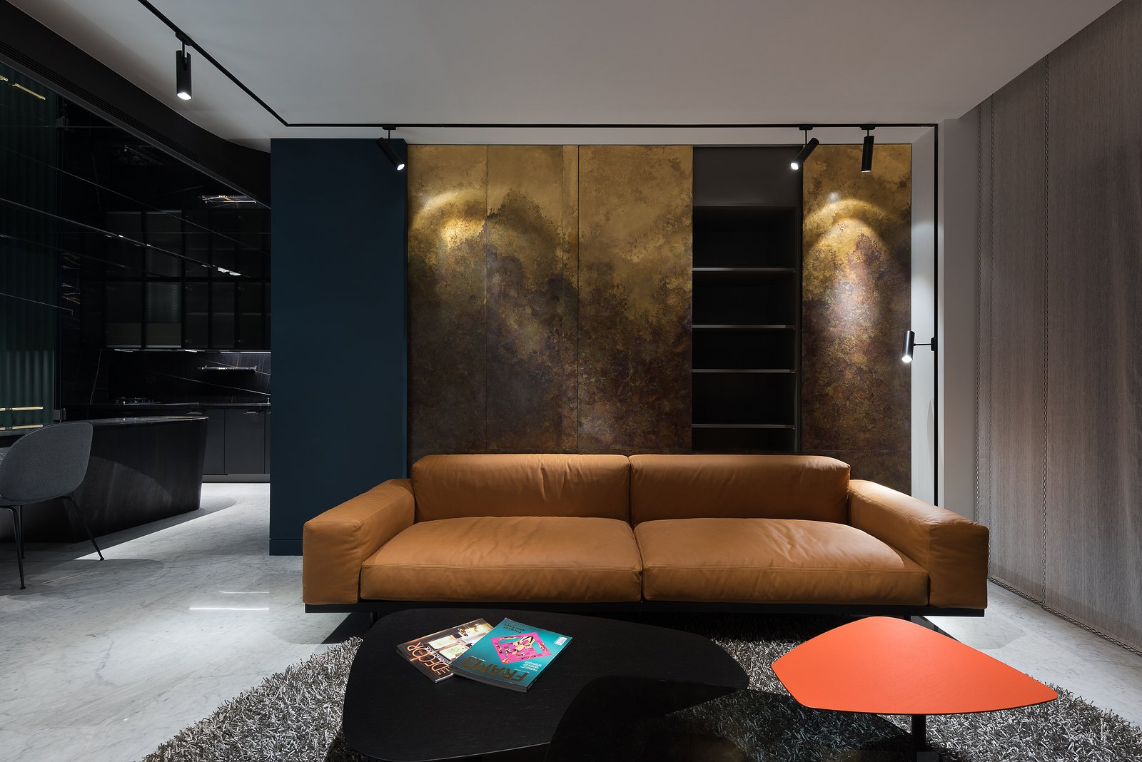 Living Room Living Room Brass Wall  Residence C.A. by W&Li Design