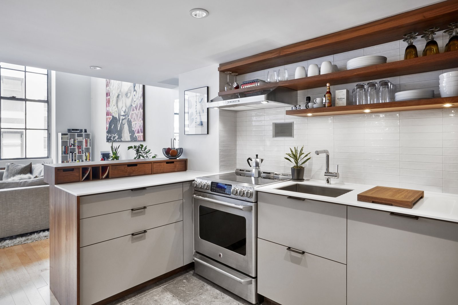 Kitchen Cooktop by GE Hood by Faber Sink and Faucet by Blanco  4th Ave./Union Square Apartment