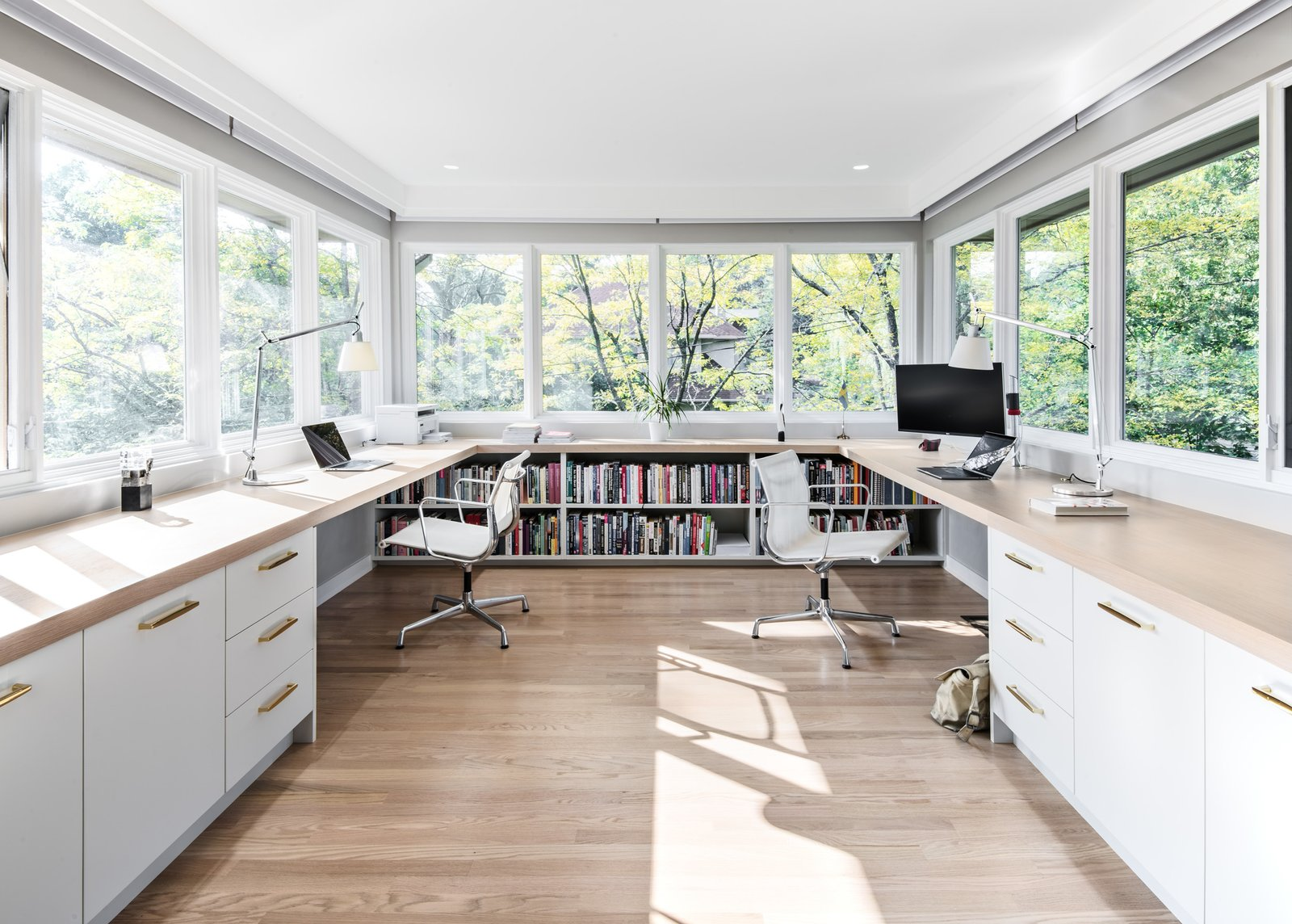 Office, Study, Library, Desk, Chair, Shelves, Lamps, Light Hardwood, Storage, and Bookcase Office  Best Office Lamps Library Photos from The Rockcliffe Renovation