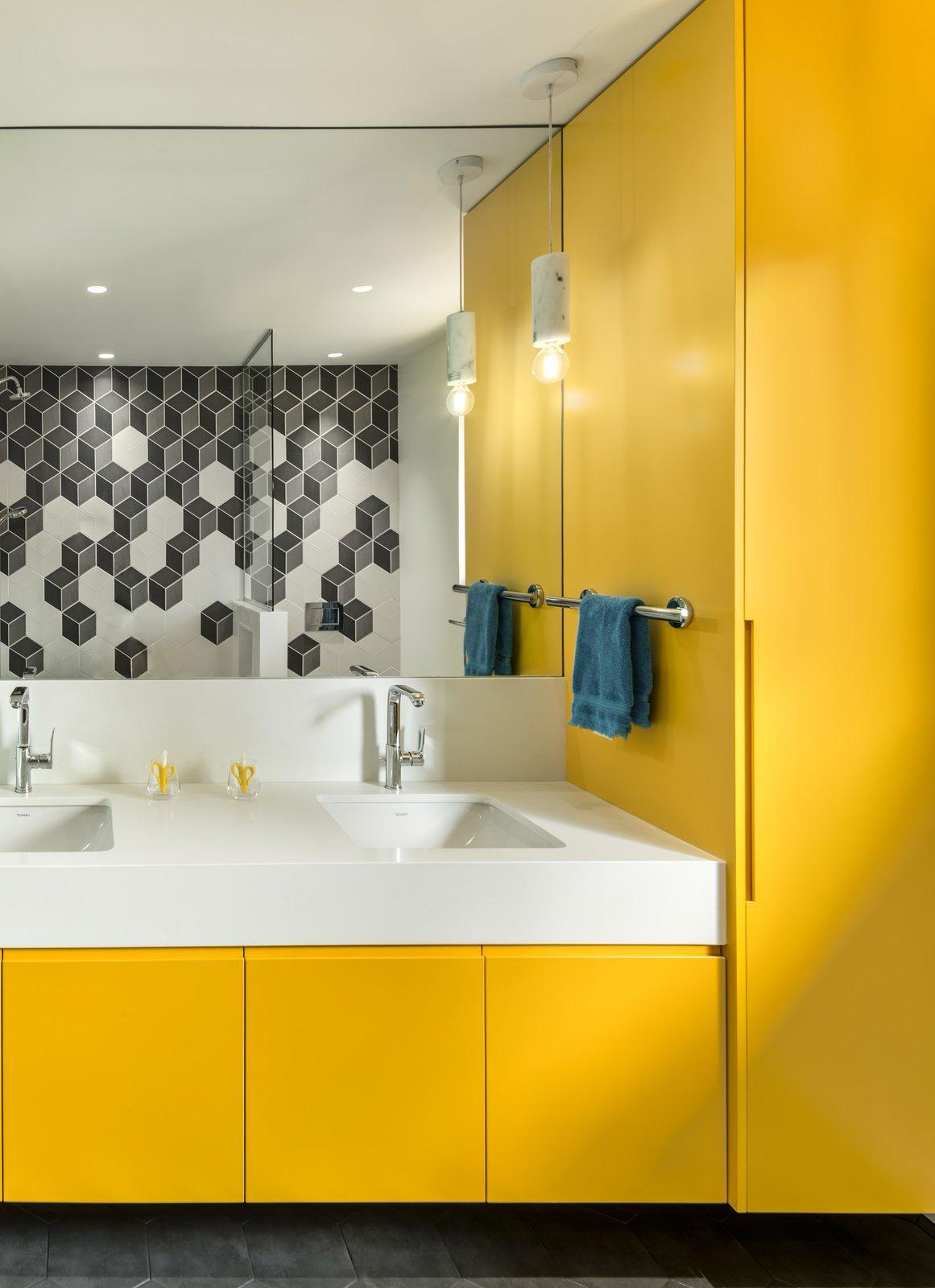 Bath, Recessed, Engineered Quartz, Ceiling, Pendant, Undermount, Porcelain Tile, Open, and Porcelain Tile Boys Bathroom  Best Bath Undermount Pendant Porcelain Tile Photos from The Rockcliffe Renovation