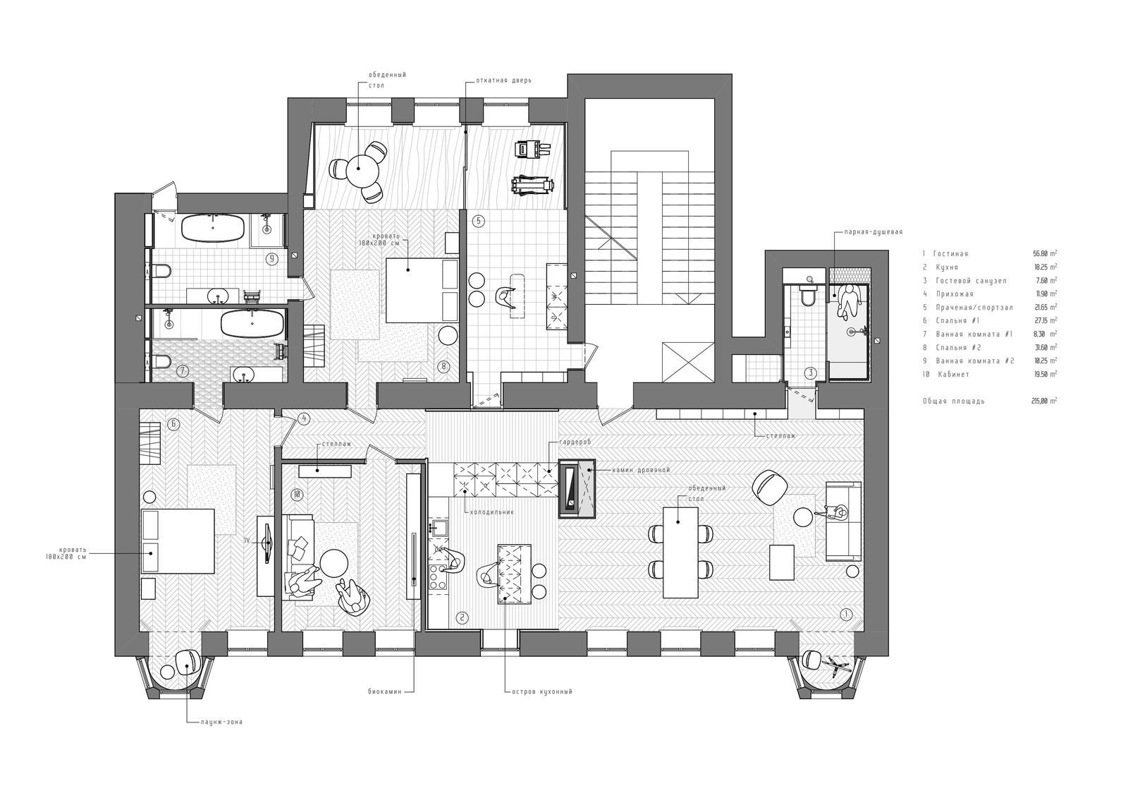 The floor plan of INT2 architecture's Saint Petersburg apartment