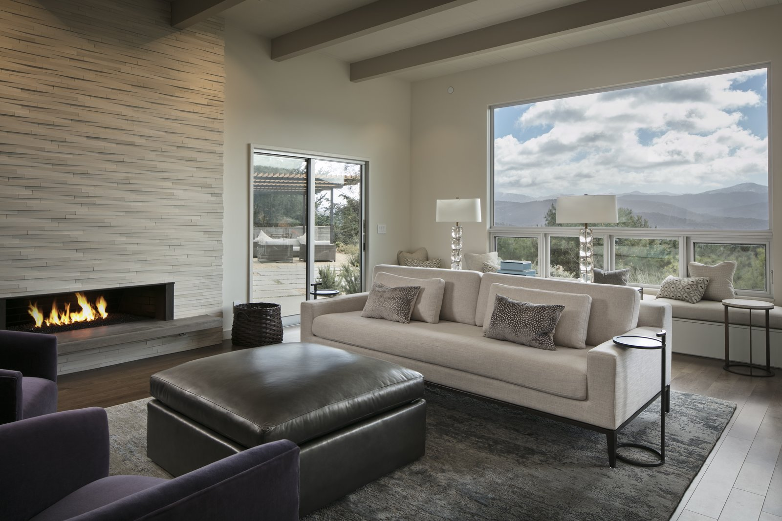 Living Room Living room featuring contemporary fireplace and gorgeous views.   Carmel Valley Vistas