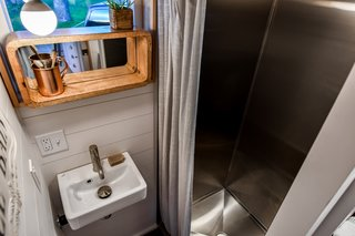 Tru Form Tiny custom makes all their stainless steel showers.