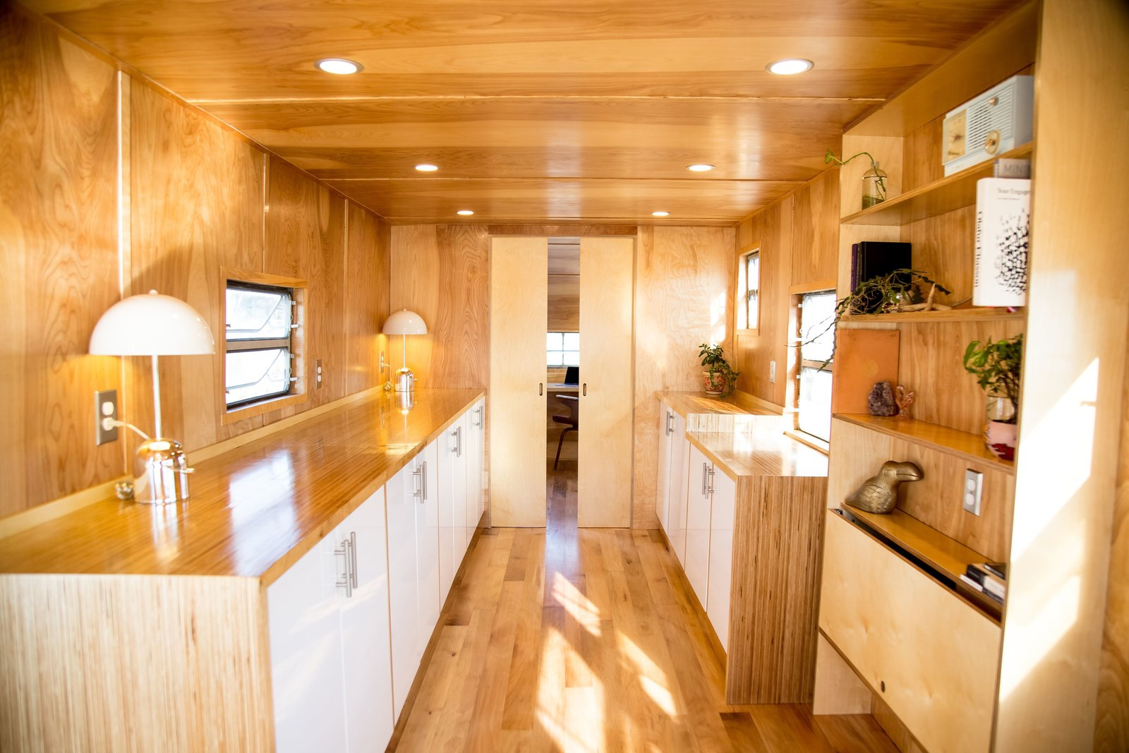 Shed & Studio Looking aft towards the private rear office in this 35ft. Spartan trailer  1953 Royal Spartanette turned modern studio
