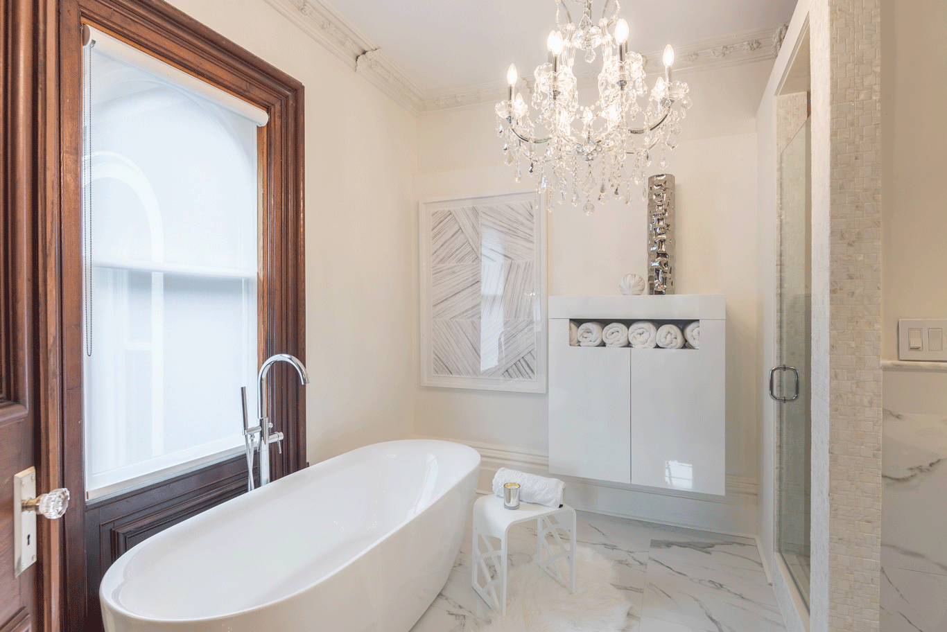Bath Room, Ceiling Lighting, Freestanding Tub, and Enclosed Shower The master bath has white marble flooring with a large soaker tub, walk in shower and mother of pearl tile surround. The vanity has a white quartz top with crystal handles on the faucets.  The Empress by Peggy Aleksiejuk