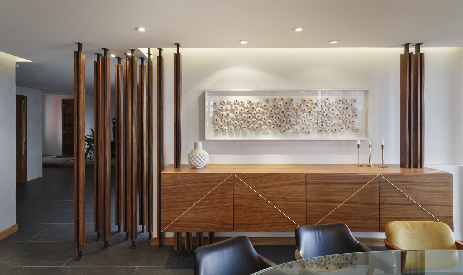 Architectural and Furniture Details for the Mid Century Revival penthouse in a 1970's original building.