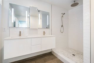 "Master Bathroom with Palisades Bianco Hand-Crafted 3""x12"" Subway Style Ceramic Tiles"