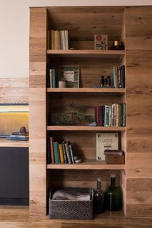 A built-in bookcase, for stacks of memories.