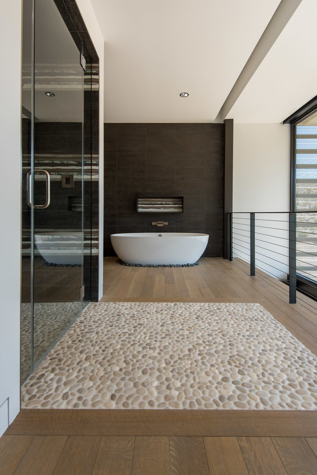Bath, Medium Hardwood, Granite, Ceramic Tile, Enclosed, Freestanding, Limestone, and Recessed master bath/shower  Bath Enclosed Medium Hardwood Limestone Recessed Granite Photos from The Rubber Ducky Trail House